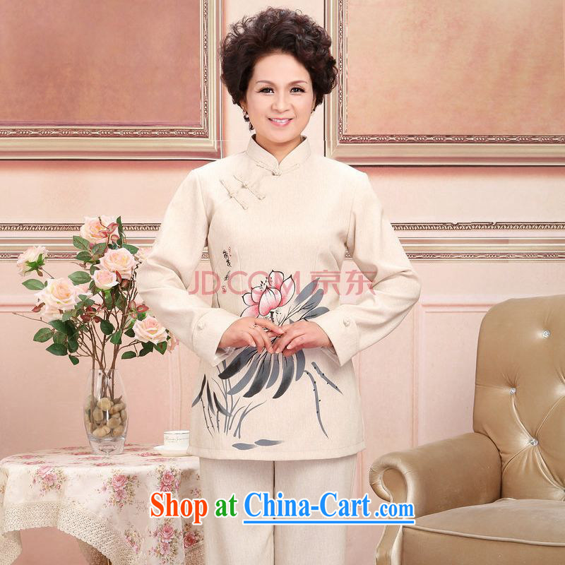 And Jing Ge older Chinese men and women couples taxi loaded spring and fall jacket cotton long-sleeved T-shirt the pants kit, white package XXXL