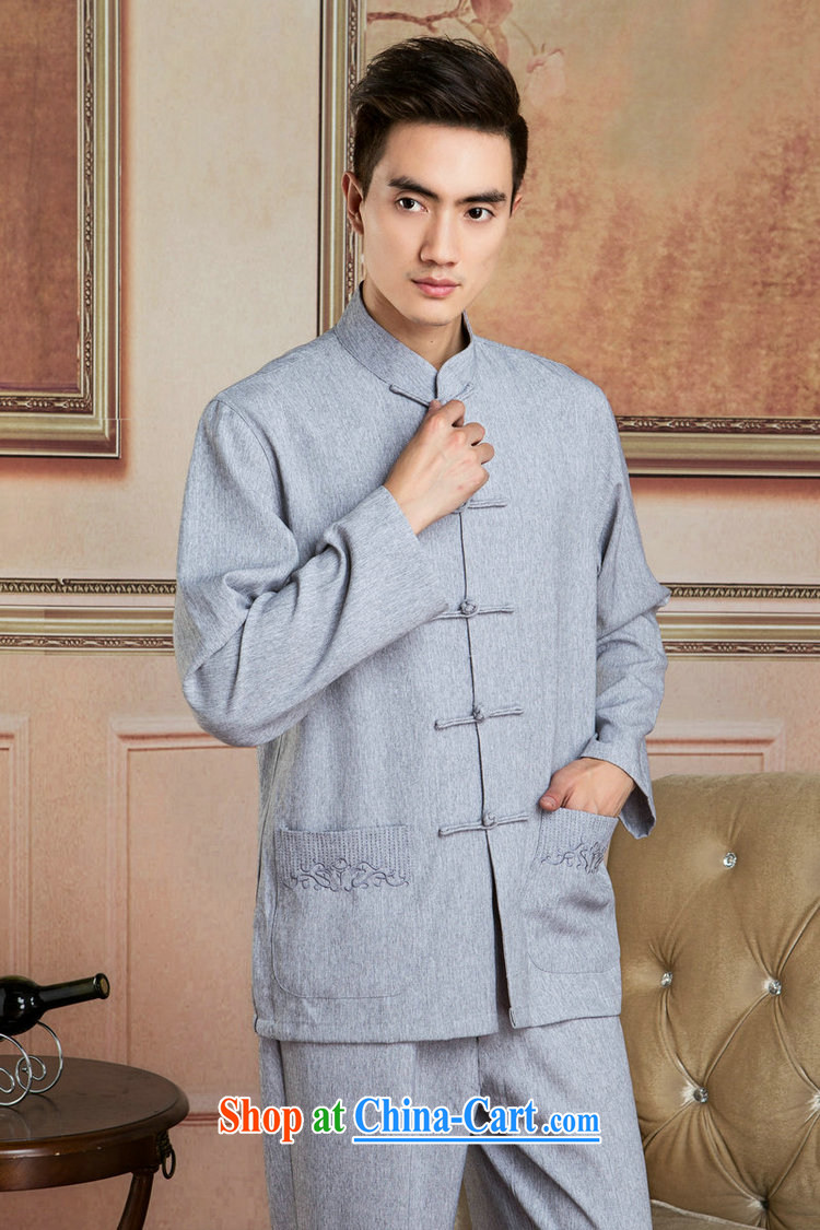 And Jing Ge Chinese men's long-sleeved jacket, collar cotton linen Tang replacing kit T-shirt Kung Fu Tai Chi Kit Kit - 3 Kit XXXL pictures, price, brand platters! Elections are good character, the national distribution, so why buy now enjoy more preferential! Health