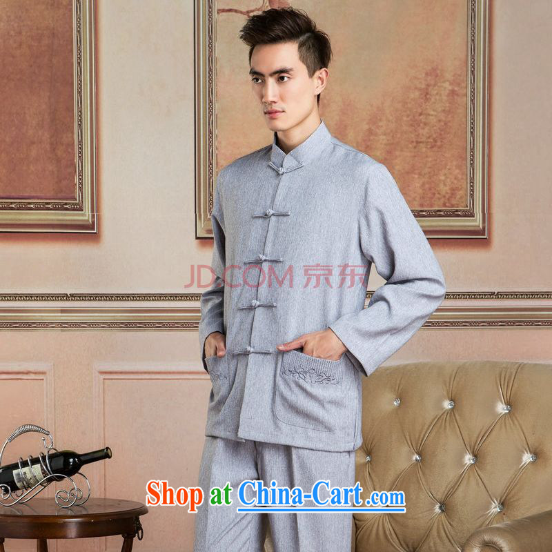 He Jing Ge Chinese men's long-sleeved jacket and collar cotton linen Tang replacing kit T-shirt Kung Fu Tai Chi Kit Kit - 3 Kit XXXL