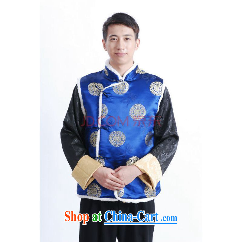 And Jing Ge 2015 New Men's Chinese T-shirt men's cotton plus A - B blue XXL