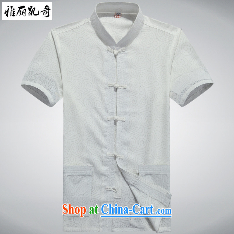 Alice Kay, summer 2015 new old men Tang replace short-sleeve T-shirt, old cotton the Chinese men's summer national costumes of China wind shirt white 190