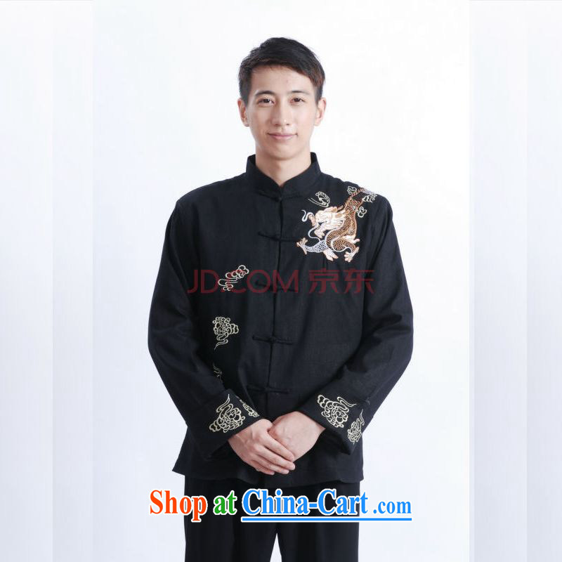 And Jing Ge tang on men's long-sleeved dress men Tang jackets, for embroidery Chinese dragon M 1121 black XXXL, Jing Ge, shopping on the Internet