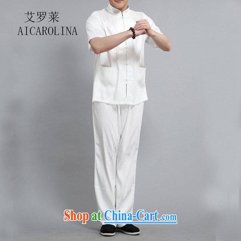 The Luo in older Chinese Xia Men's short-sleeve kit, older men's summer Chinese half sleeve male Chinese White XXXL