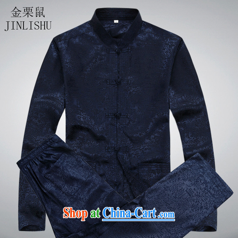 The chestnut mouse spring and summer new middle-aged and older men's long-sleeved Tang package loaded spring and summer with his father the Man ethnic wind Han-Blue Kit XXXXL