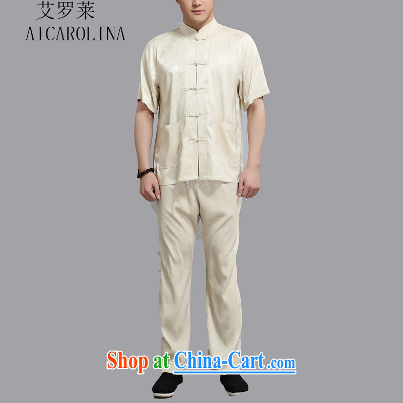 The Carolina boys men Tang is a short-sleeved, served high and Summer Package of Chinese Chinese shirt loose gold XXXXL