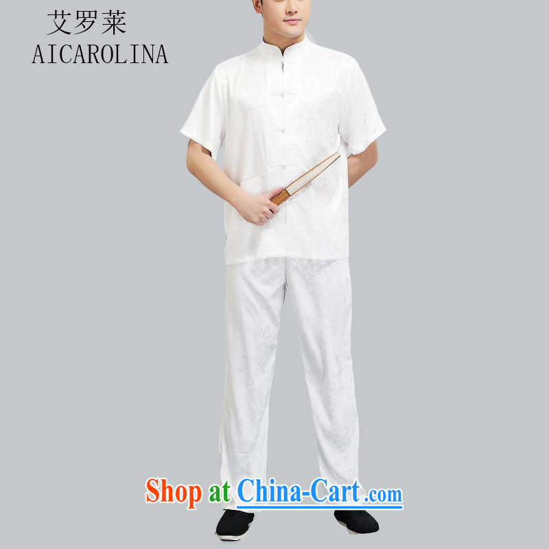 The summer, older persons in Chinese package short-sleeve male Han-serving nepal national dress, Chinese white collar XL