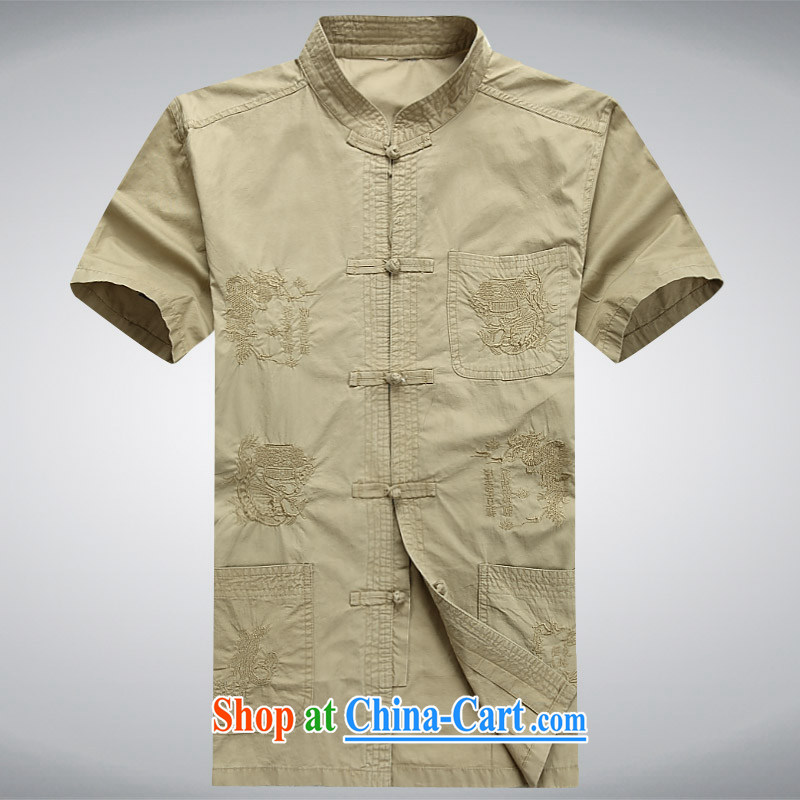 The chestnut mouse summer new middle-aged and older Chinese men and a short-sleeved T-shirt casual China wind Tang card its color XXXXL