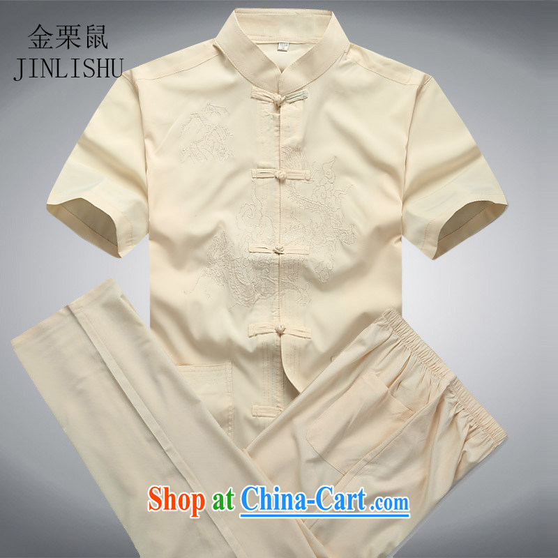 Kim Jong-il chestnut Mouse middle-aged and older Chinese package short-sleeved older persons in men's father with summer T-shirt pants beige Kit XXL