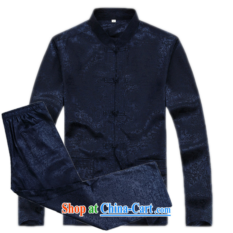 The older thin Man Kung Fu T-shirt men's long-sleeved Tang replace Kit home kit Tai Chi clothing men, for the charge-back long-sleeved Tang load package multi-color optional dark blue L_175