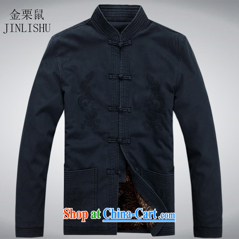 The poppy the mouse and replace the collar-tie shirt cotton muslin old Chinese men and solid long-sleeved T-shirt Chinese shirt spring deep blue XXXL