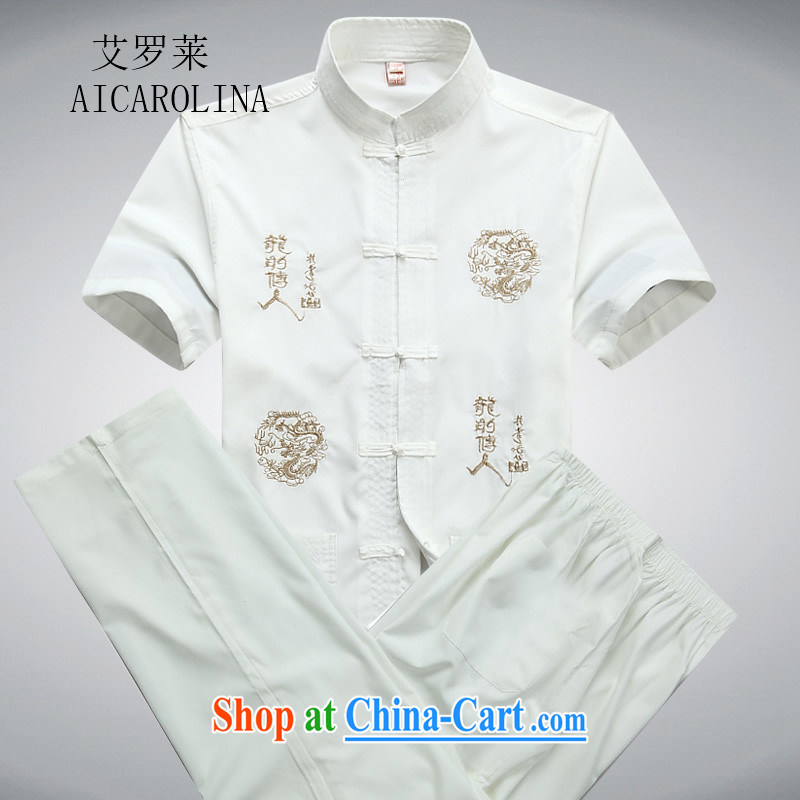 The Carolina boys new short-sleeved Tang package installed in the older men's casual summer Chinese clothing elderly ethnic wind white package L