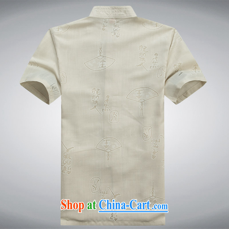 The Honorable Henry Tang, the male short-sleeved men's Chinese cotton mA short-sleeved, older units of the Commission, Mr Tang is summer leisure T-shirt beige XXXL, the Tony Blair (AICAROLINA), online shopping