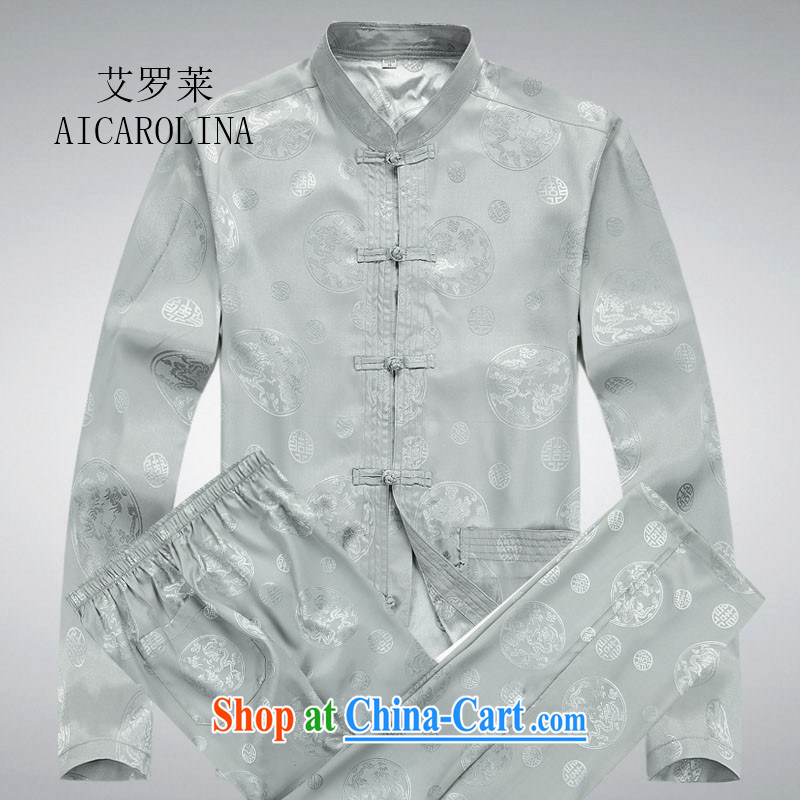 The Luo in older Chinese men's long-sleeved Kit summer kung fu Chinese men and Chinese shirt-tie Chinese long-sleeved gray package XXXL
