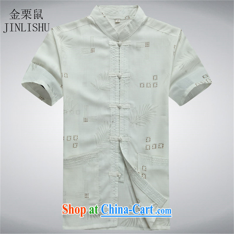 The chestnut mouse summer middle-aged men with short T-shirt with short sleeves, older men's summer shirt white XXXL