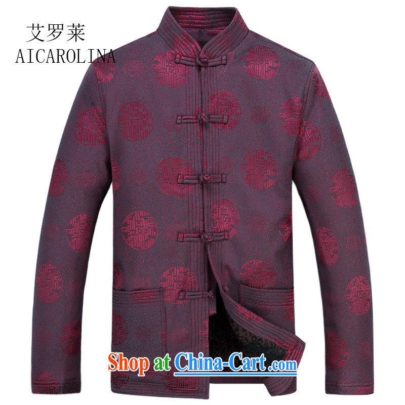 The thick black men Tang with quilted coat jacket older, for men's cotton suit Chinese lunar new year birthday gift red XXXL