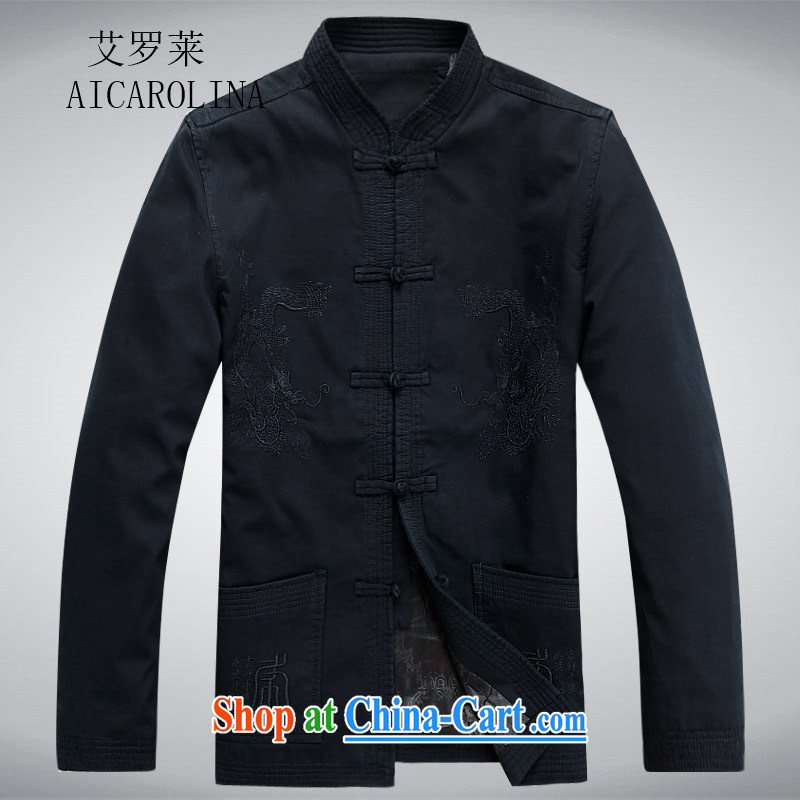 The Carolina boys National wind men's Chinese-tie China wind Chinese men's long-sleeved jacket spring Han-cynosure of service deep blue XL