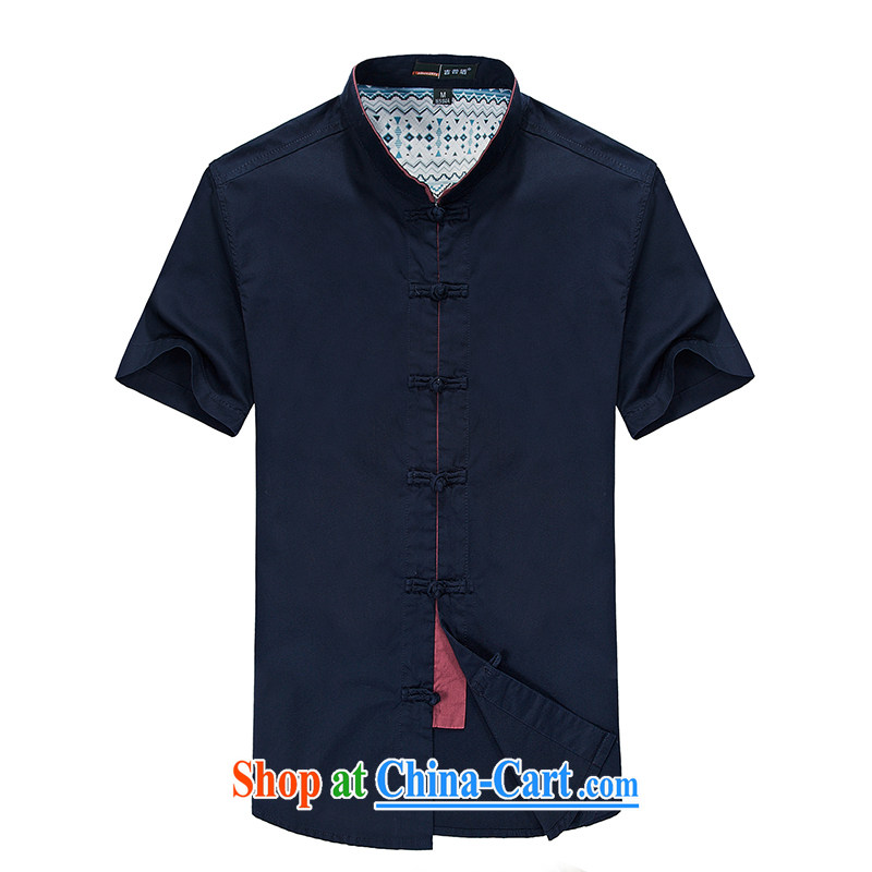 NIAN JEEP 2015 spring and summer with new short-sleeved shirt pure cotton Chinese Chinese-tie the ends up for half-T-shirt and blue XL