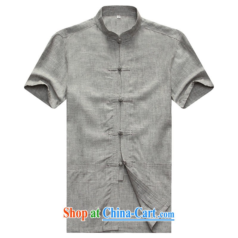 2015 summer Chinese linen short-sleeve T-shirt and loose the code round-collar-tie cotton Ma T-shirts older cotton Ma T-shirt and gray 175