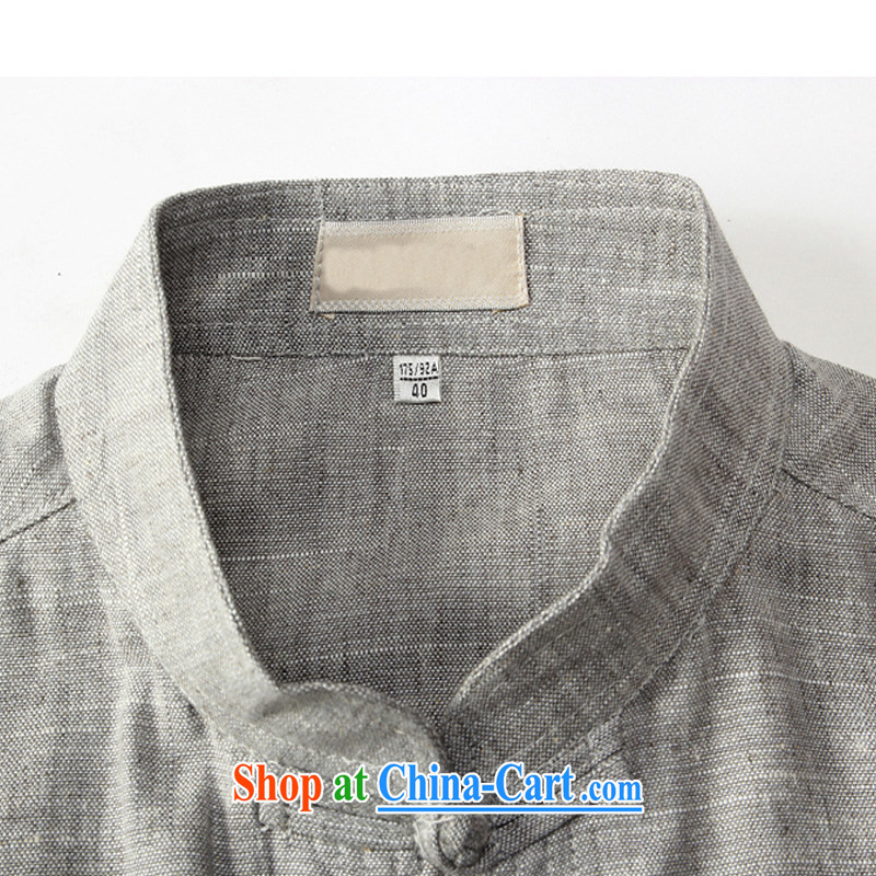 2015 summer Chinese linen short-sleeve T-shirt and loose the code round-collar-tie cotton the T-shirts, older units the T-shirt and gray 175, Jordan, and, on-line shopping