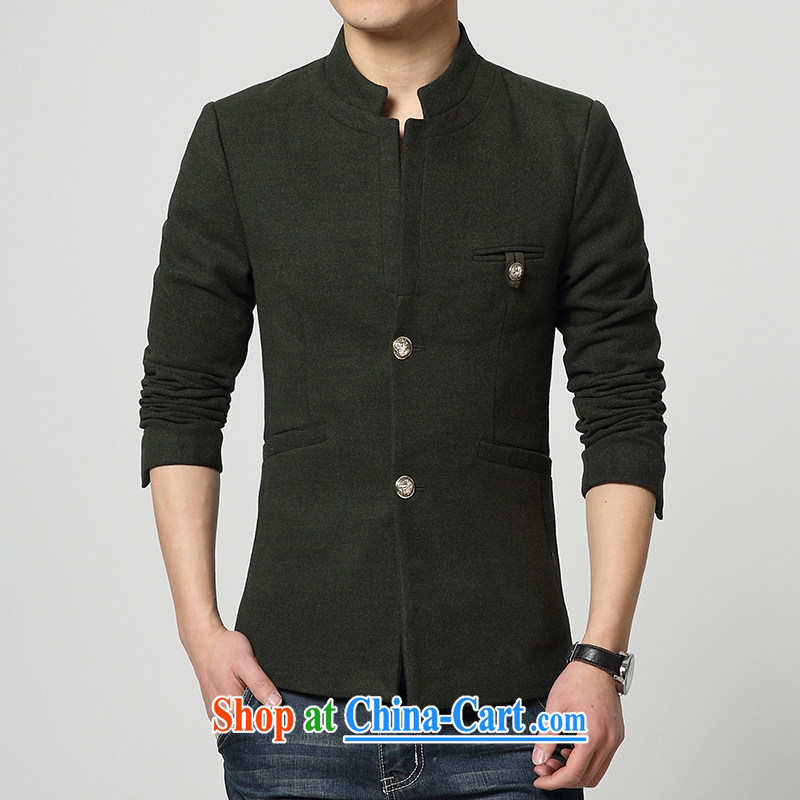 UYUK 2015 spring and summer men's smock, for gross jacket? Korean beauty, long jacket, black 3 XL