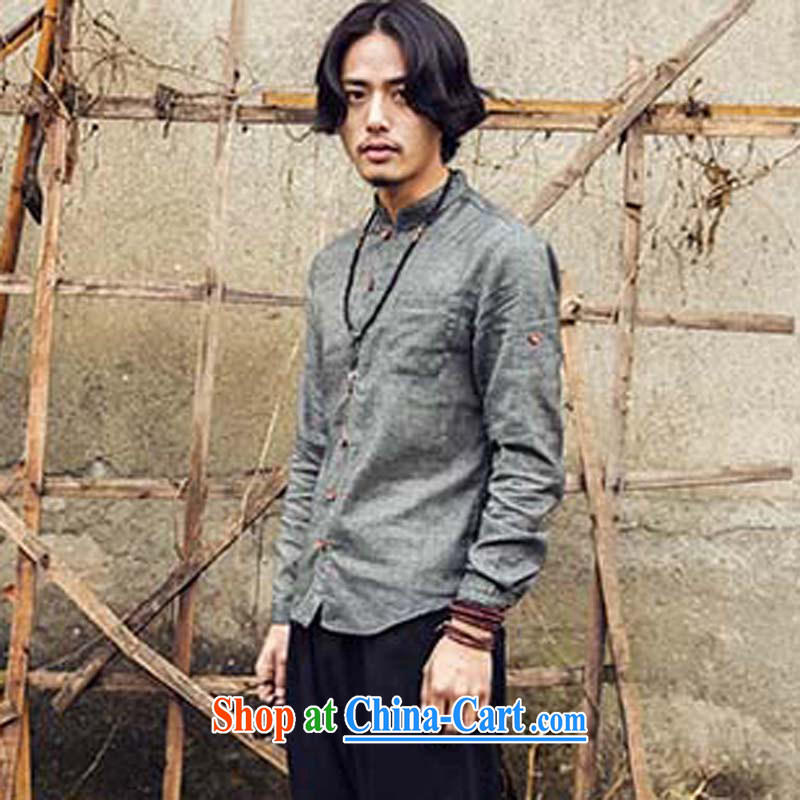 UYUK 2015 spring and summer men's long-sleeved Chinese style Chinese shirt and stylish cotton Ma shirt and dark gray XL
