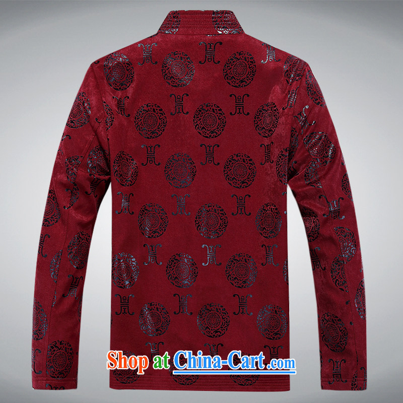 The poppy the Mouse spring men's Tang with long-sleeved T-shirt, elderly Chinese men and the charge-back older persons long-sleeved Tang jackets men's Maroon XXXL, the chestnut mouse (JINLISHU), online shopping
