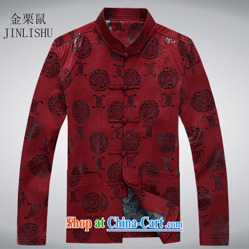 The chestnut mouse Ethnic Wind men Chinese men and Chinese wind-buckle spring loaded long-sleeved T-shirt in Spring and Autumn and older men's jackets red XXXL