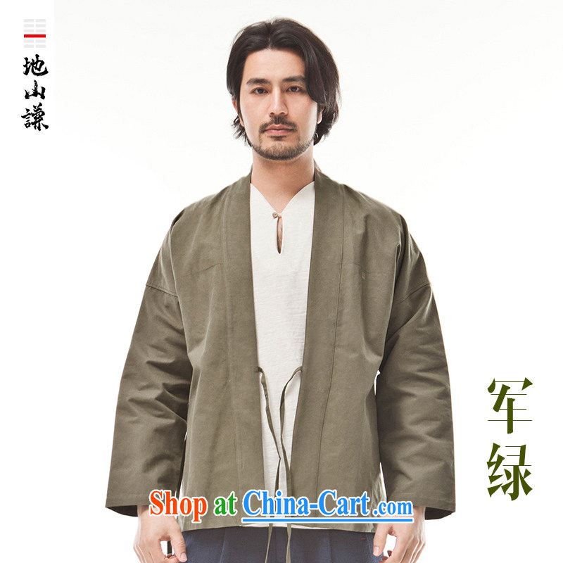 To him, Chinese style in a new, pure cotton innovation, served tea serving Chinese style meditation service T-shirt ethnic wind forces green movement (XXL)