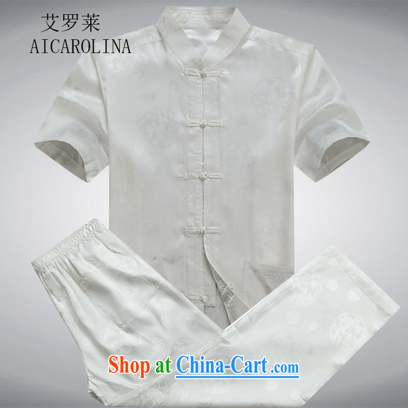 The Carolina boys spring_summer men's short sleeve fitted with a short-sleeved older persons in China and Chinese Grandpa summer white package XXXL