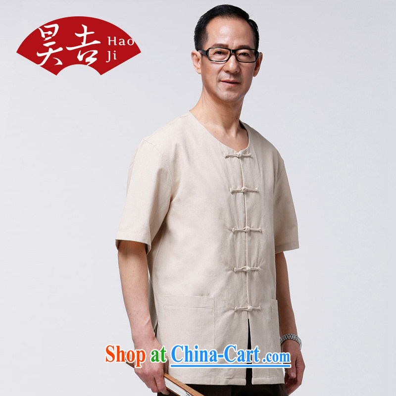 Hao, special summer men's short-sleeved Chinese clothes Chinese wind cotton muslin improved Chinese elderly clothing beige 180