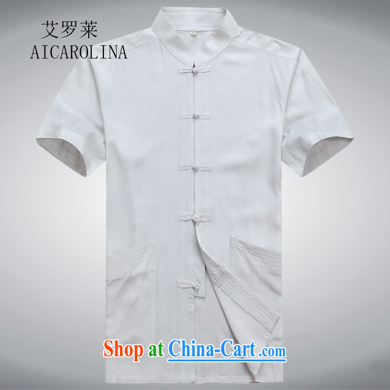 The Luo in older Chinese men and a short-sleeved shirt older persons older persons Summer Package Grandpa loaded men father T-shirt with white XXXL