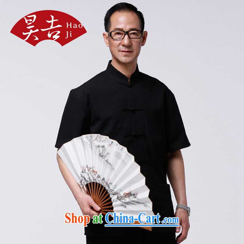 Hao, 2014 summer new middle-aged and older men's short-sleeved Chinese T-shirt hand-tie Chinese father black 180