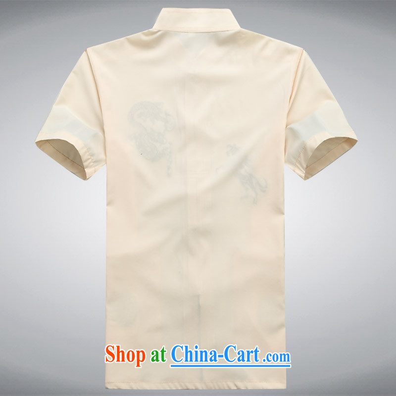 The chestnut Mouse middle-aged and older Chinese men and a short-sleeved shirt older persons older persons Grandpa Summer Load men father with beige XXXL, the chestnut mouse (JINLISHU), shopping on the Internet
