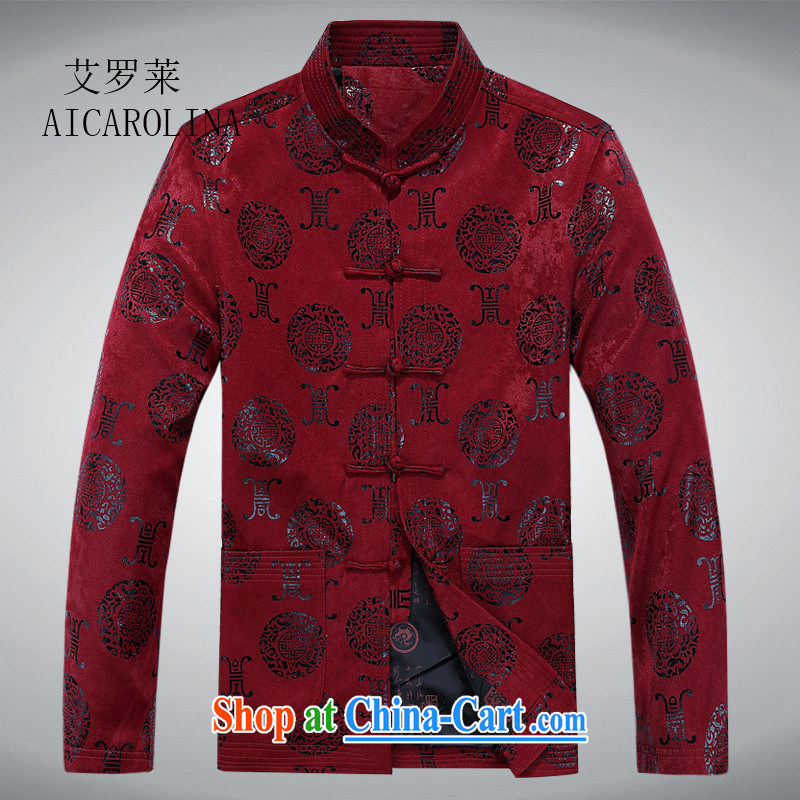 The spring, the male Chinese jacket, older, for men's Birthday Feast, and T-shirt ethnic Chinese jacket maroon XXXL