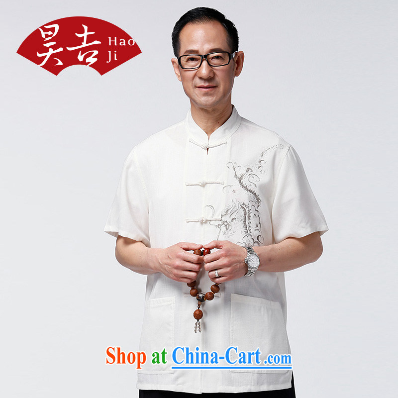 Hao, summer cotton Ma Man Tang load short-sleeve T-shirt, old Chinese national costume his father with elderly Chinese White XXXXL