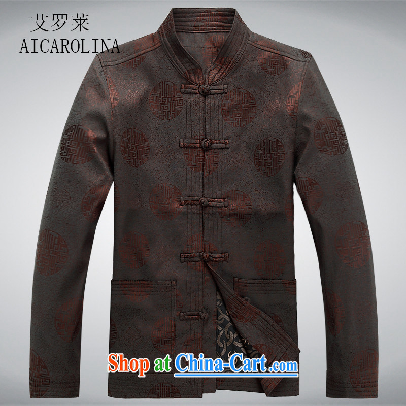 The elderly, fall clothes with men older people Chinese jacket jacket Chinese Disk Port, older Chinese men's long-sleeved brown XXXL