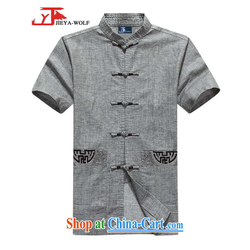 Jack And Jacob - Wolf JIEYA - WOLF New Tang with short-sleeve men's summer, advanced units the solid color knocked color manual for male stars, gray 180_XL