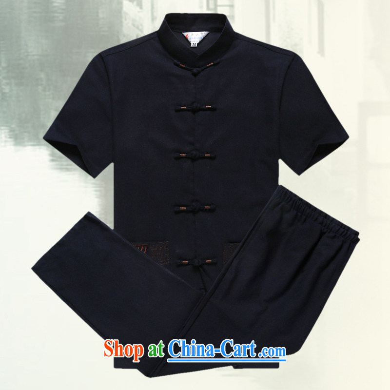 Men's short-sleeved Chinese summer 2015 new male Chinese linen short sleeved T-shirt T-shirt China wind, older men's Chinese D 236 black XXXL