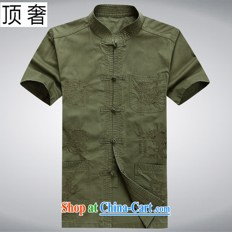 Top luxury Chinese men's 2015 new Chinese men and a short-sleeved summer bamboo charcoal cotton older father is loose the code half sleeve is withholding the cotton shirt men's 08, bamboo charcoal cotton army green 180