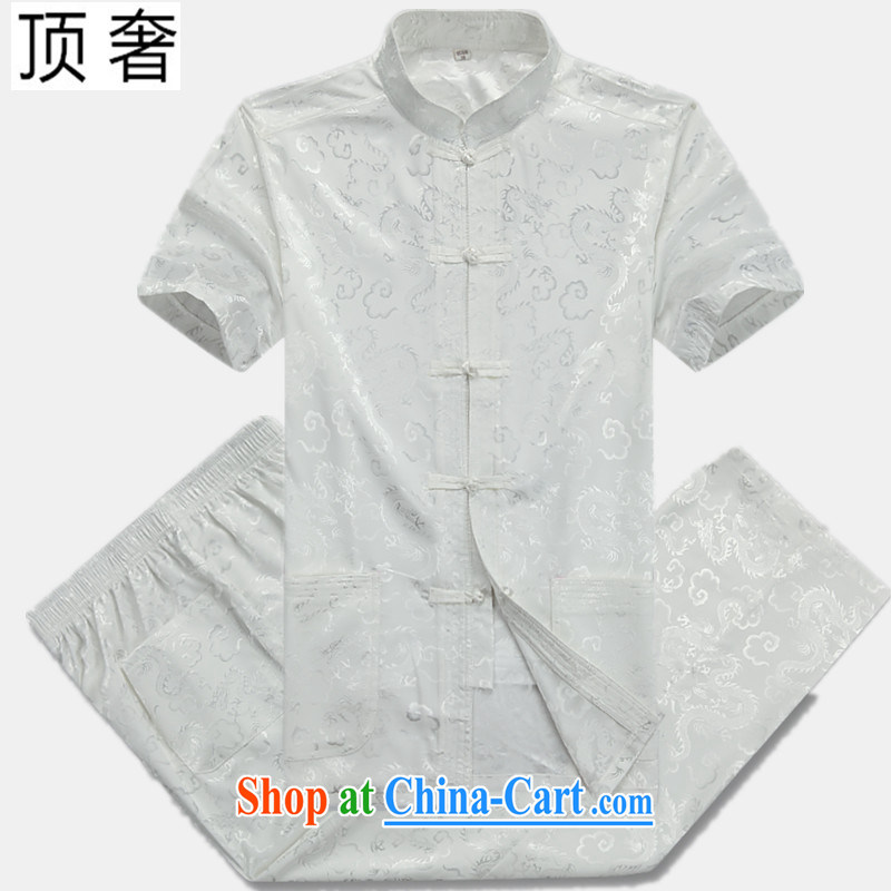 Top Luxury summer 2015 new Chinese China wind-tie men's short-sleeved T-shirt, jacket for men and older persons in Han-Chinese style men's short-sleeve kit, 07 in white Dragon Kit 170