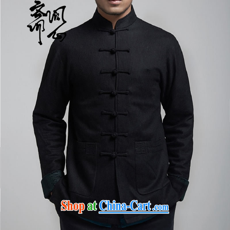 q heart al-Fitr (the health fall/winter men's new and cultivating Chinese jacket improved Tang with a shoulder design 1149 black XXXL 180/100