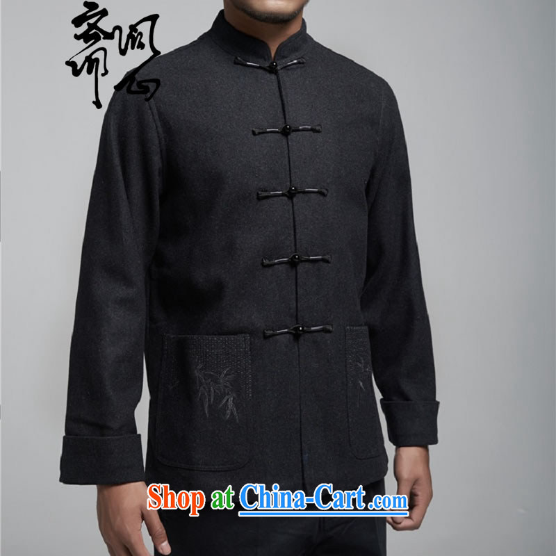 q heart Id al-Fitr (the health fall/winter men's new hair do Chinese jacket design jacket Chinese-tie 1160 dark gray L