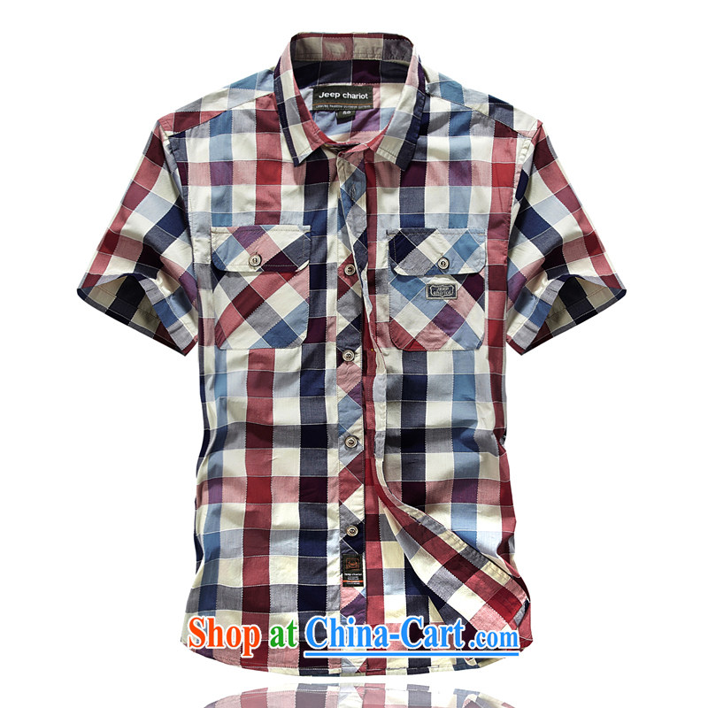 Jeep tanks short sleeve T-shirt men's plaid short-sleeve shirt ironing 8512 red L