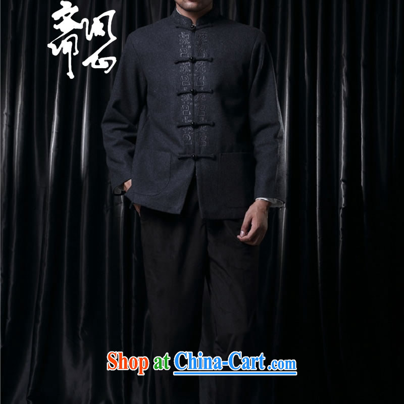 q heart Id al-Fitr (the health of the autumn and winter, China wind-snap embroidery wool Tang jackets 1528 dark gray XXL, ask a vegetarian, shopping on the Internet