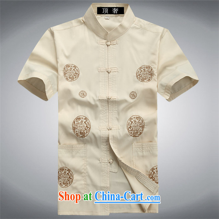 Top luxury Chinese package men and 2015 new, middle-aged men's short-sleeved Tang is loose the code summer Chinese shirt men's national costume show morning workout clothing beige Kit 190 pictures, price, brand platters! Elections are good character, the national distribution, so why buy now enjoy more preferential! Health