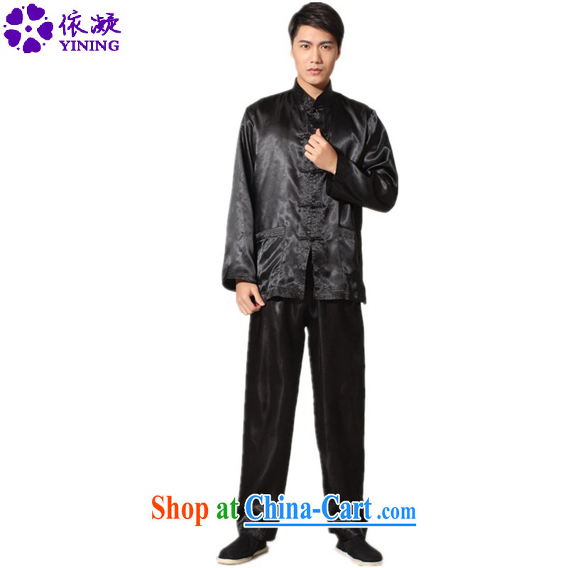 Under the fuser and stylish new men's National wind load Tang, who has been hard-pressed long-sleeved T-shirt Tang load package and Kung Fu uniform shirt LGD/M 3010# black 2 XL