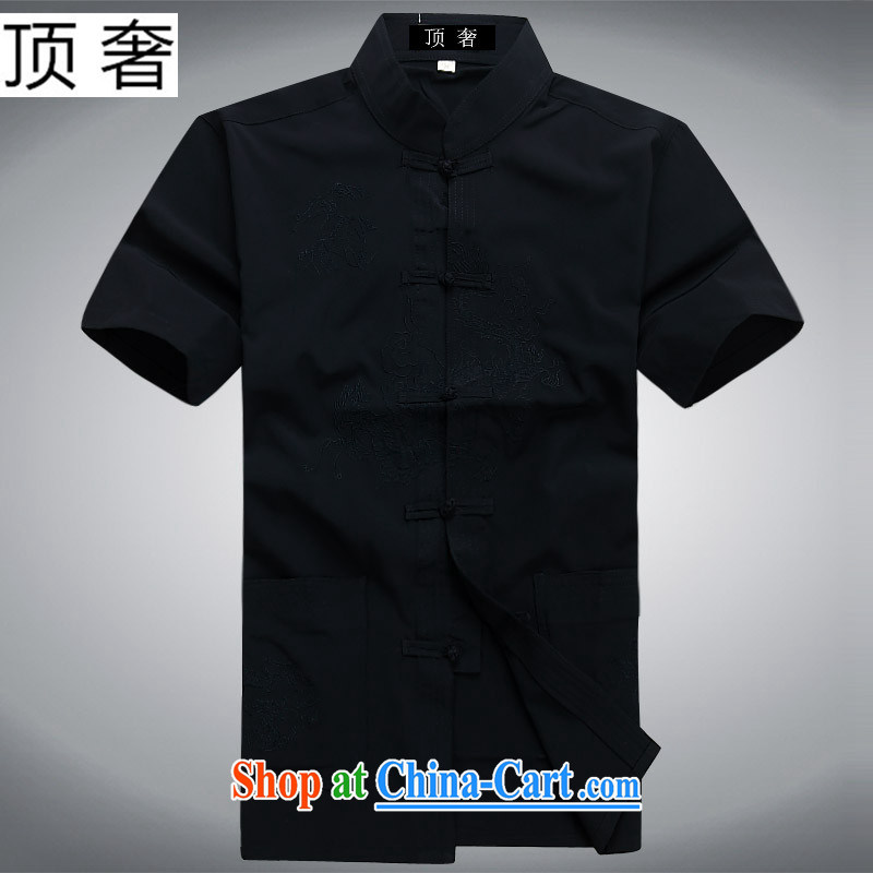 Top Luxury middle-aged and older Chinese package short-sleeved men's new Chinese T-shirt men's short-sleeved summer half sleeve men silk cotton Dad installed China wind Tang replace Kit dark blue suit pants and clothing 165