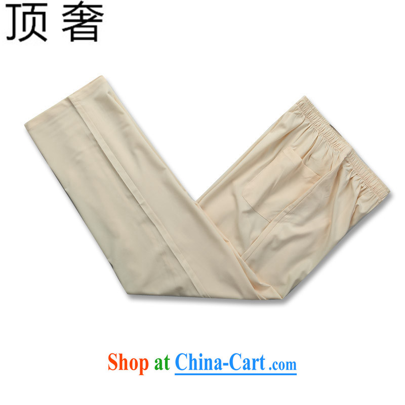 Top Luxury men's Chinese New Year in summer, Tang with a short-sleeved T-shirt white Chinese men and summer national costumes of China wind shirt short-sleeved men's beige package 190, the top luxury, shopping on the Internet