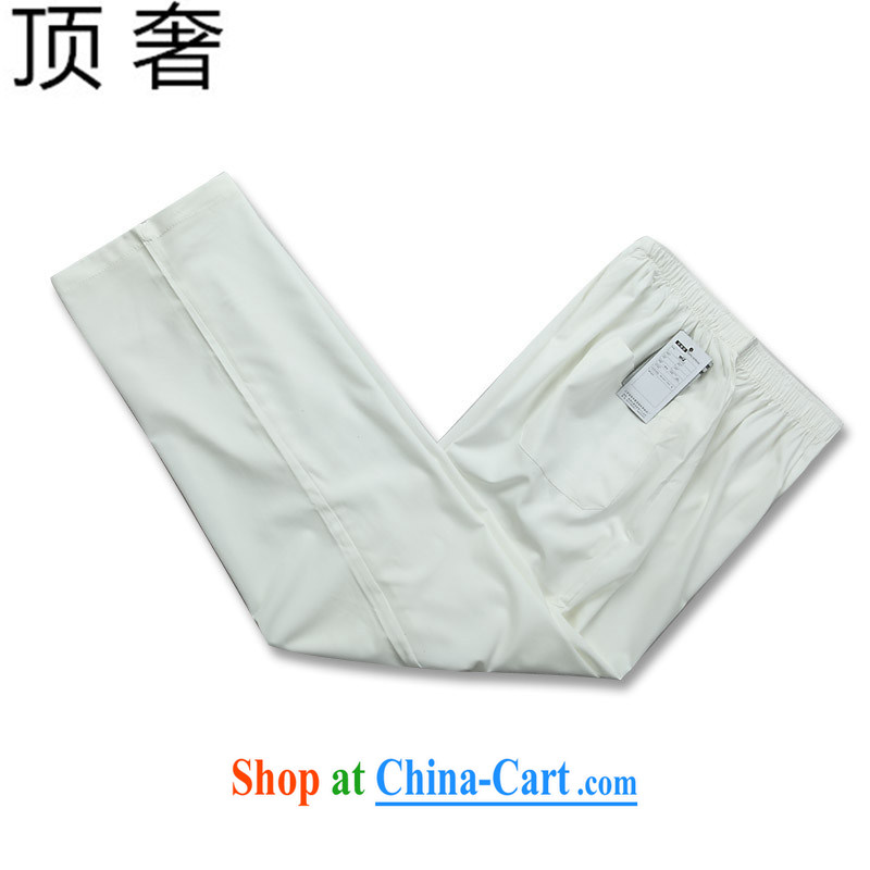 Top luxury Chinese 2015 new middle-aged and older short-sleeved Chinese men summer Chinese national costumes With Grandpa practitioners serving the Chinese Tang is solid white T-shirt package 190, and with the top luxury, and, on-line shopping