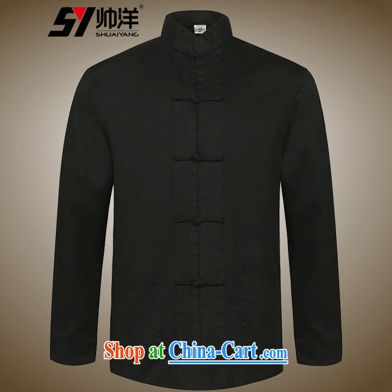 cool ocean new men's cotton Chinese long-sleeved shirt Chinese wind spring and autumn of Chinese shirt and collar loose version single layer jacket hand-tie dress black 42_180